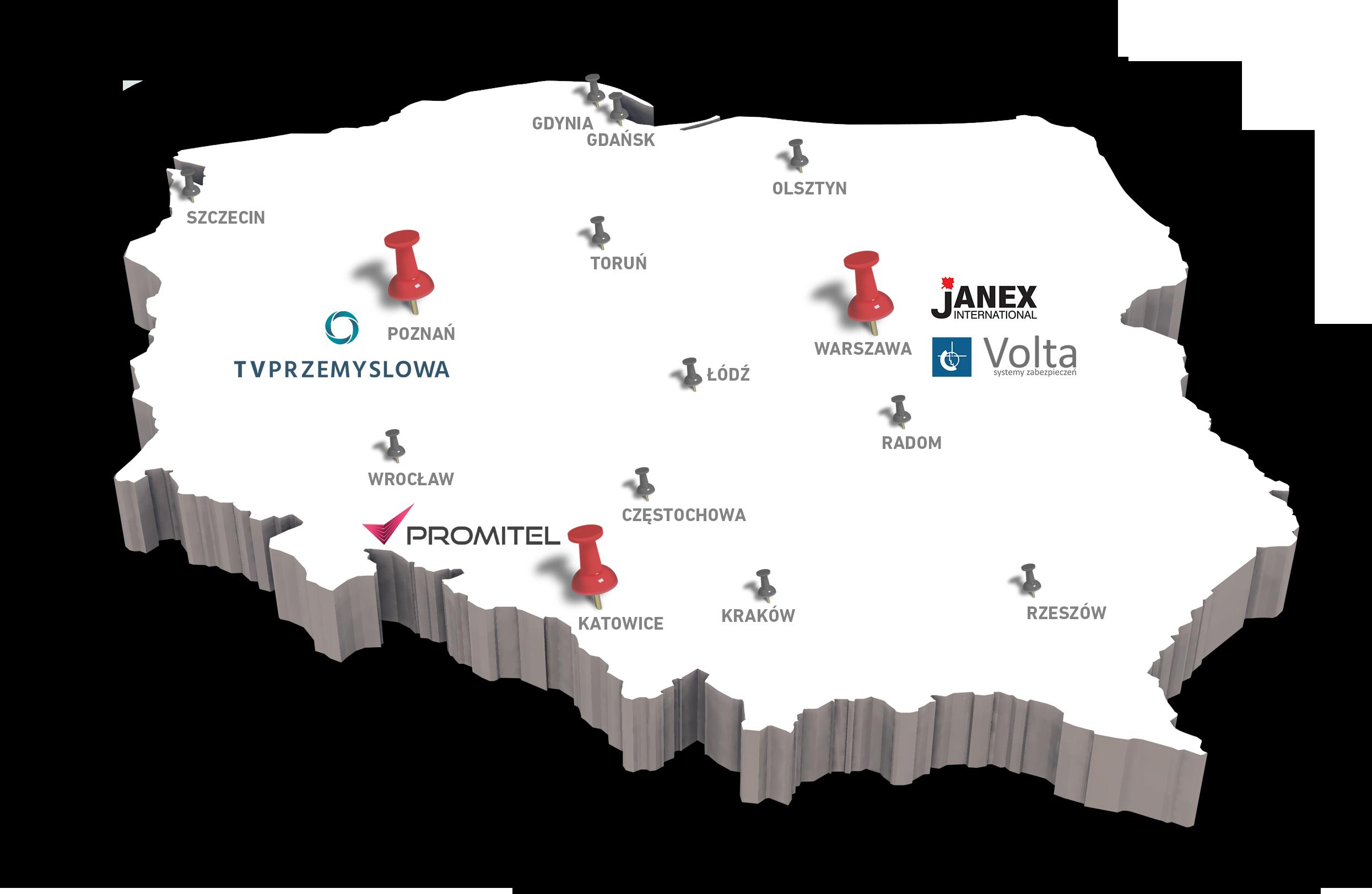 Mapa sieci dystrybutorów posiadających w ofercie mobilne kamery z serii iCAM marki Camsat